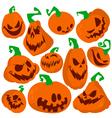Flat pumpkins icons set vector image