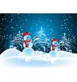 snowmen in christmas landscape vector image