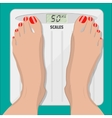 electronic scales and female feet with pedicure vector image