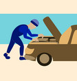 mechanic repairs car motor vector image