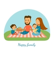 A happy family Camping Picnic A family Cartoon vector image vector image