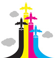 Aircraft flying in the sky vector image vector image