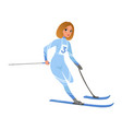 athlete woman taking part in skiing competition vector image