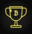 bitcoin block reward icon in neon style vector image