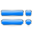 blue glass buttons set 3d shiny icons with vector image vector image