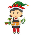 Christmas theme with girl and bread vector image vector image