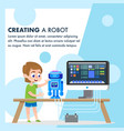 creating a robot model early student workshop vector image vector image