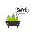 cute cactus for kids with text vector image vector image