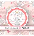 cute seamless pattern - rabbit cartoon vector image vector image