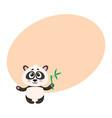 cute smiling baby panda character holding bamboo vector image vector image