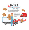 delivery service background man holding boxes vector image vector image