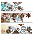 floral brochures set with abstract flowers vector image