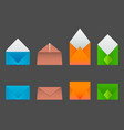 four types of envelopes made from colored paper vector image