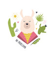 funny llama in costume composition vector image