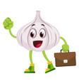 garlic with suitcase on white background vector image vector image