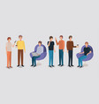 group of men using technology and drinking coffee vector image vector image