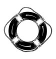 hand drawn sketch of lifebuoy in black isolated on vector image