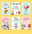 happy birthday card template set vector image