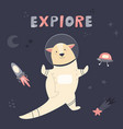 happy cute astronaut otter floating in space vector image