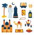 Islam religion flat icons set vector image