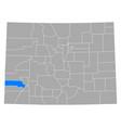 map san miguel in colorado vector image vector image
