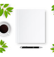 notebook with white blank cover vector image
