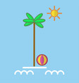 palm with ball at sea vector image vector image