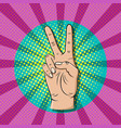 pop art victory sign gesture thumb up hand vector image vector image