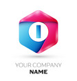 realistic letter i in colorful hexagonal vector image vector image