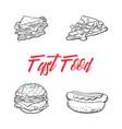 sandwich burger hot dog pizza slice set vector image vector image