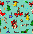 seamless pattern with christmas design elements vector image