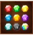 set colorful gems gui elements vector image