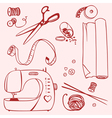 Set items for sewing and crafts vector image