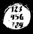 set of calligraphic ink numbers textured brush vector image