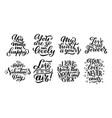 set of lettering quotes about love hand drawn vector image