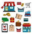 Shopping business and retail color icons vector image vector image