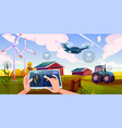 smart farming futuristic technologies in farm vector image vector image