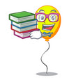 student with book yellow balloon isolated on for vector image