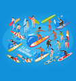 surfing isometric blue background vector image vector image