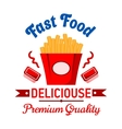 Takeaway fast food french fries with ketchup badge vector image vector image