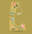 yellow letter l with floral decor and necklace vector image
