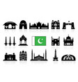 pakistan travel landmarks icon set vector image