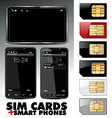 sim cards and smart phones - set vector image