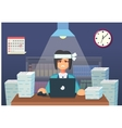 Funny flat Cartoon Character Tired Office Worker vector image