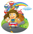 A vehicle with happy kids near the amusement park vector image vector image