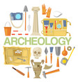 archaeology icon set banner vector image