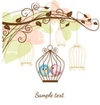 birds in a cage vector image