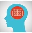 blue silhouette head open book icon design vector image