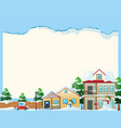 border template with snow in the village vector image