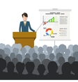 Businessman holds a lecture to an audience with vector image